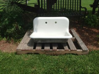 Antique 30x20 High Back Farm Sink,  Kitchen,  Utility,  Farmhouse,  1923.  Porcelain. photo