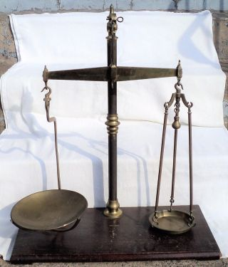 Vtg 1800s Antique C.  W.  Brecknell Brass Scale Of Justice Apothecary Balance Trade photo
