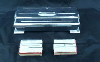 Vintage 3 Piece Art Deco Footed Cigarette Box With 2 Matching Match Holders photo