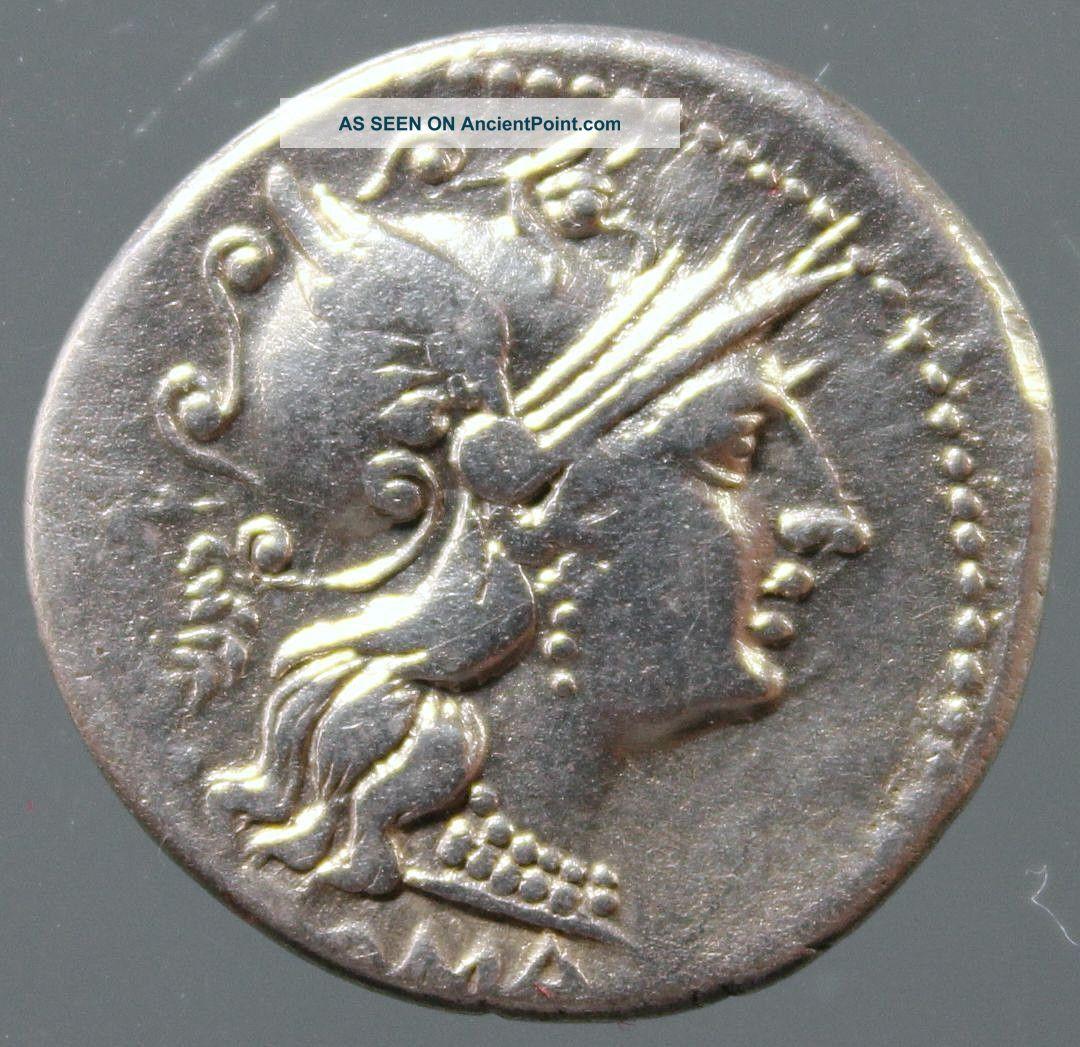 C.  Servilius M.  F. ,  Silver Denarius,  Helmeted Roma,  Dioscuri,  Horses,  136 Bc Roman photo