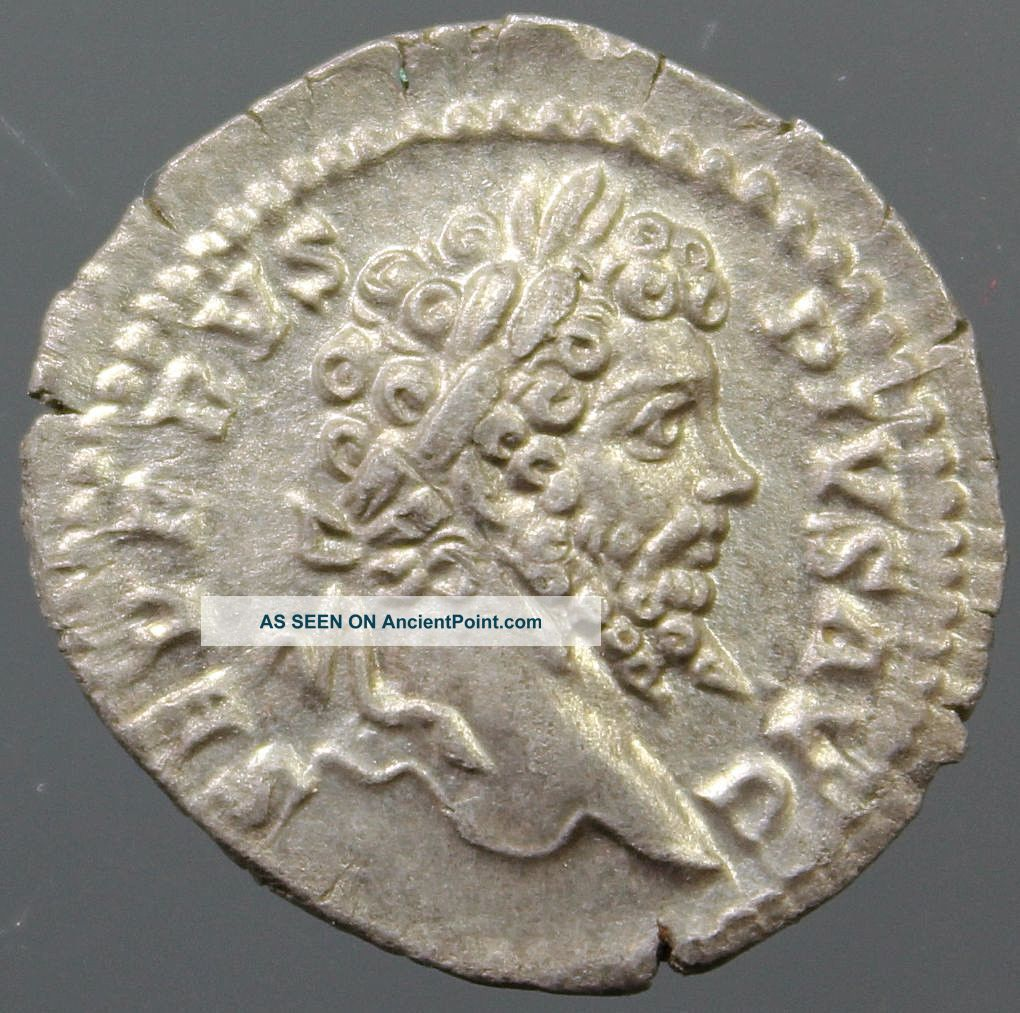 Top Septimius Severus,  Silver Denarius,  Veiled,  Branch,  Minted Rome,  Ca.  203 Ad Roman photo