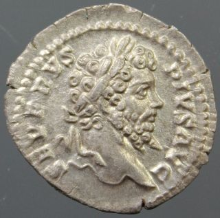 Top Septimius Severus,  Silver Denarius,  Veiled,  Branch,  Minted Rome,  Ca.  203 Ad photo