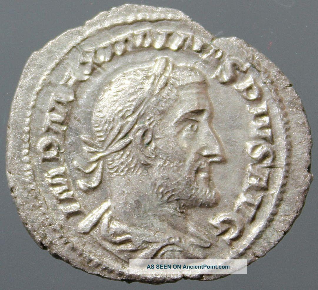 Outstanding Maximinus Thrax,  Silver Denarius,  Victory,  Victoria,  Rome 235 - 238 Ad Roman photo
