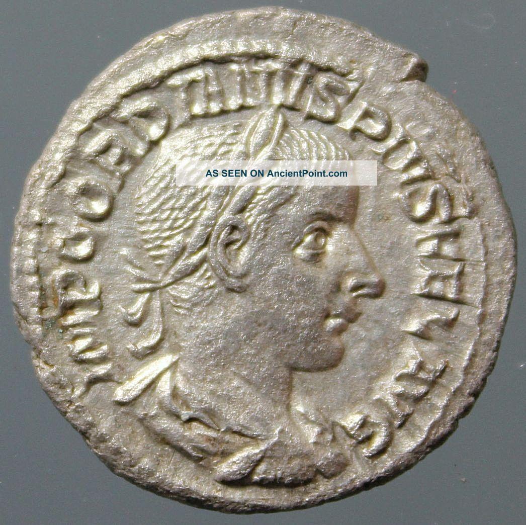 Gordian Iii. ,  Silver Denarius,  Salus,  Serpent,  Snake,  Patera,  Rome,  238 - 244 Ad Roman photo