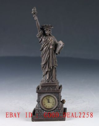 Vintage Brass Hand Made Statue Of Liberty Mechanical Globe Clock Zj29 photo