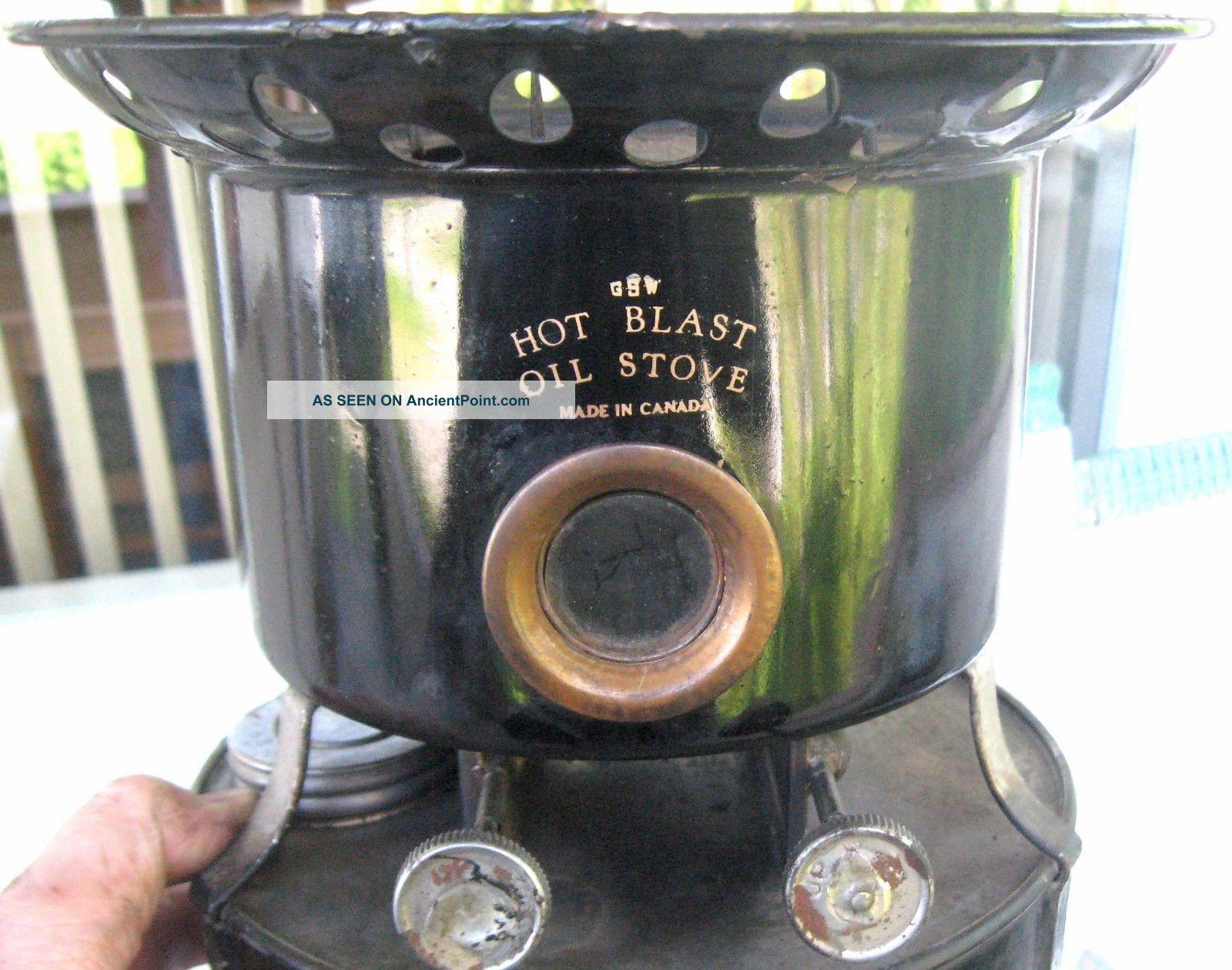 1910 ' S Antique Heater By Gsw Hot Blast Oil Stove Tin Sad Iron Canada Camping Stoves photo