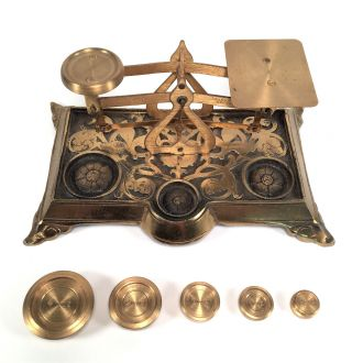 Vintage Brass Postal Letter Desk Scale W Nesting Weights English Antique Ornate photo