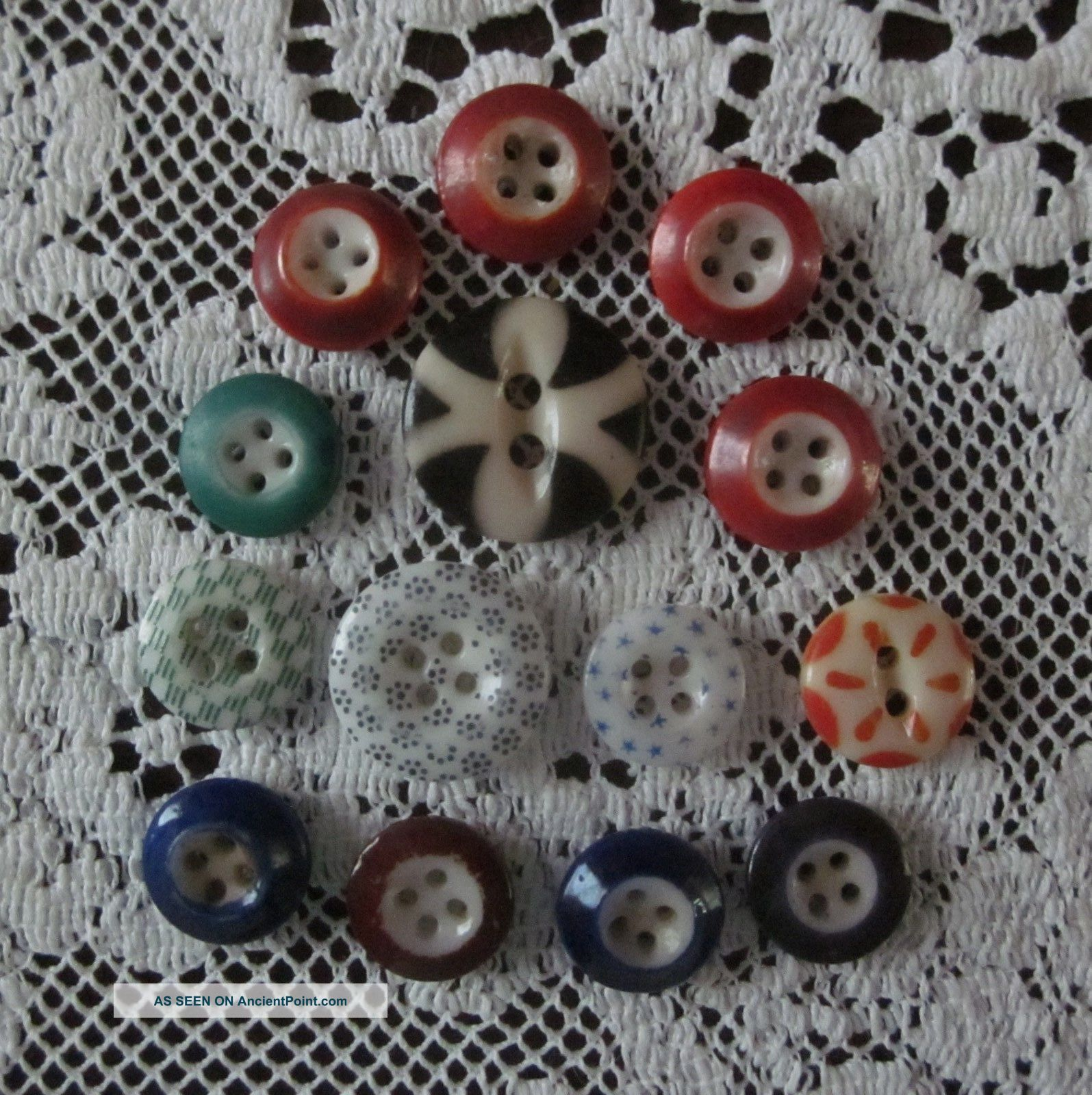 14 Vintage Antique Calico Stencil China Buttons Various Colors Sewing Buttons photo
