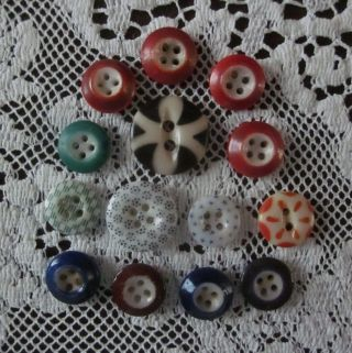 14 Vintage Antique Calico Stencil China Buttons Various Colors Sewing photo
