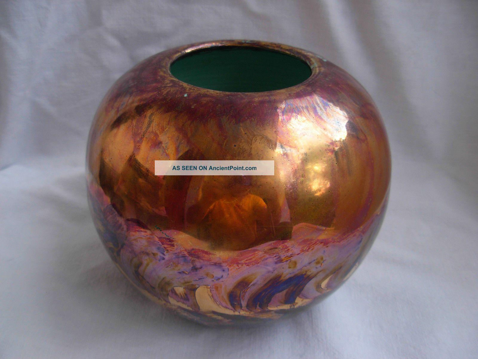 Vallauris,  French Art Deco Iridescent Ceramic Vase,  Signed,  1930 Years Art Deco photo