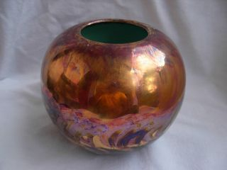 Vallauris,  French Art Deco Iridescent Ceramic Vase,  Signed,  1930 Years photo