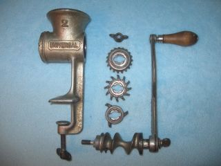Vintage Meat Grinder Chopper; Universal 2; Cast Iron; Hand Crank; 3 Blades; Usa photo