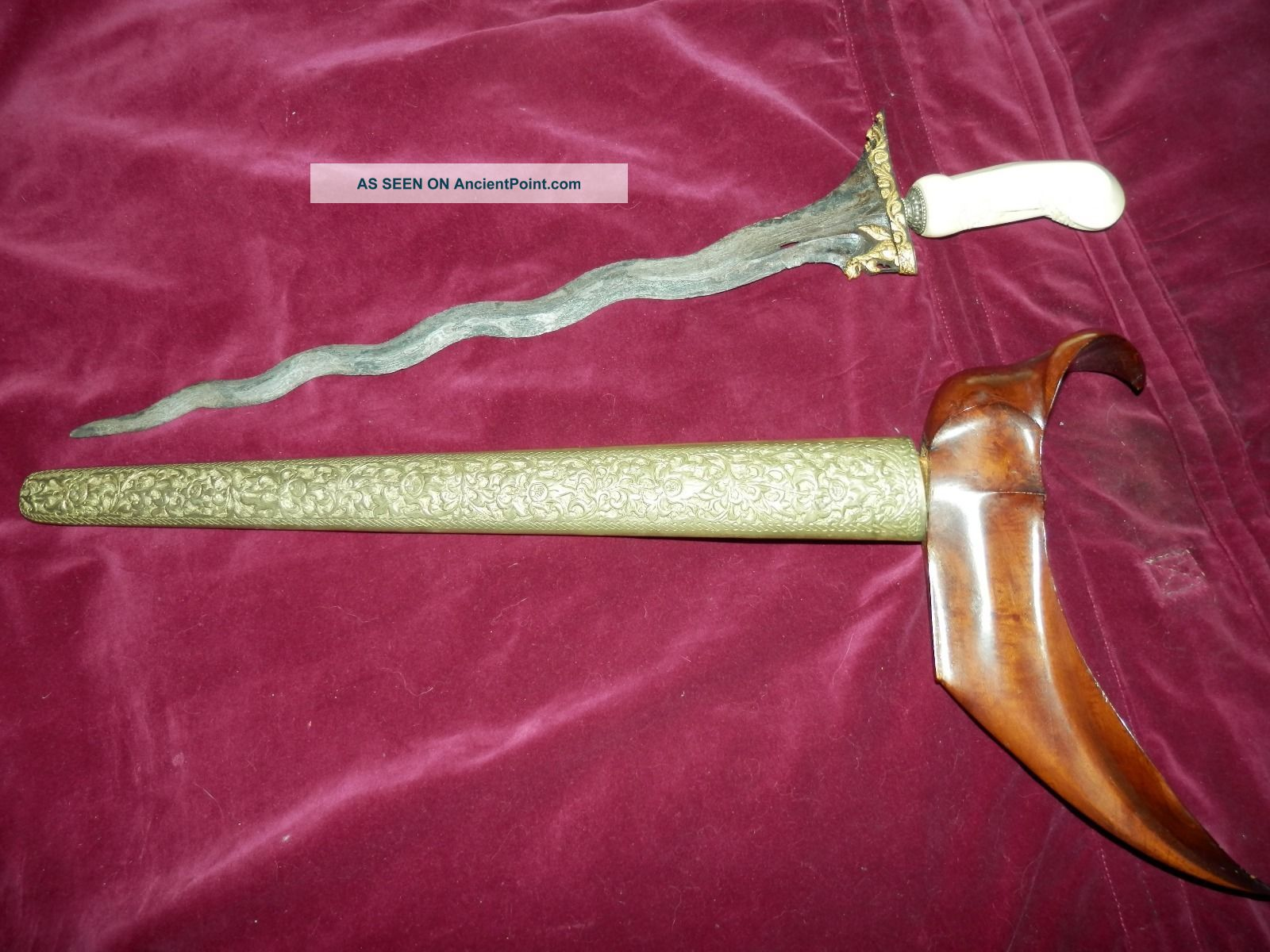 15th Century Keris Gold Singo Barong Sword With Old Gading Handle Pacific Islands & Oceania photo