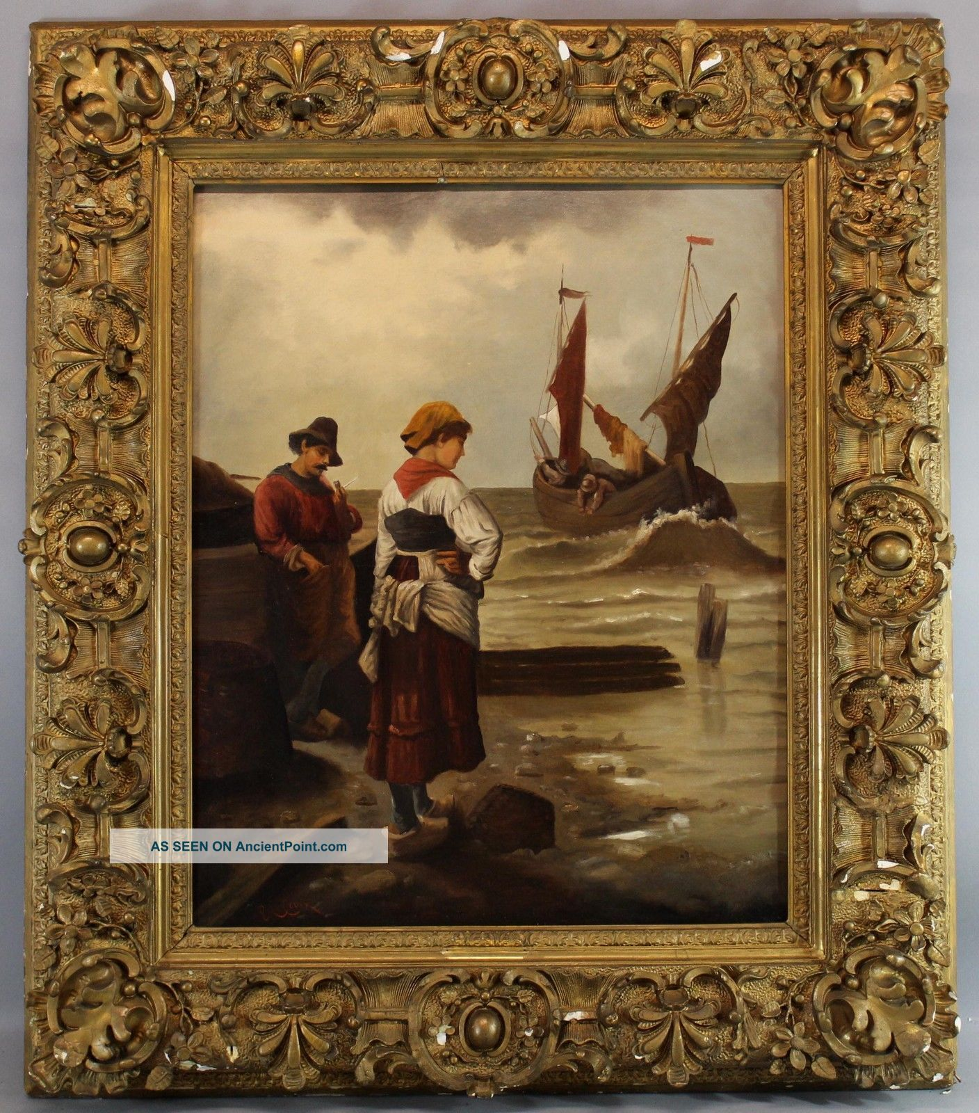 Large 19thc Antique Eugene Lacroix French Coastal Fishermen Oil Painting Nr Other Maritime Antiques photo