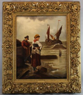 Large 19thc Antique Eugene Lacroix French Coastal Fishermen Oil Painting Nr photo
