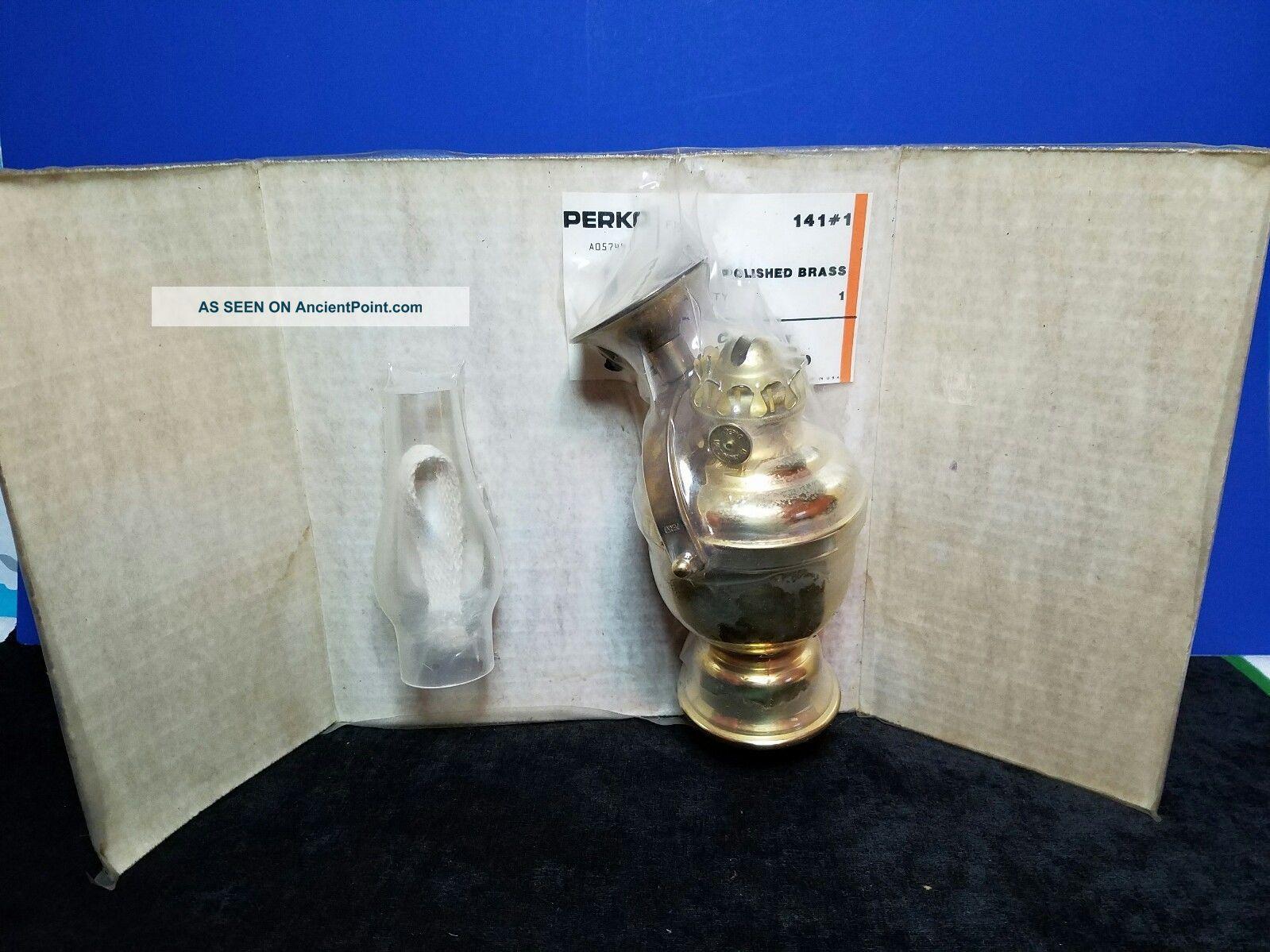 Old In Package Perko Ship Boat Maritime Cabin Brass Oil Lamp Lantern Globe Lamps & Lighting photo