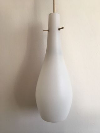 Vintage Mid Century Modern Pendant Lamp - Milk Glass photo