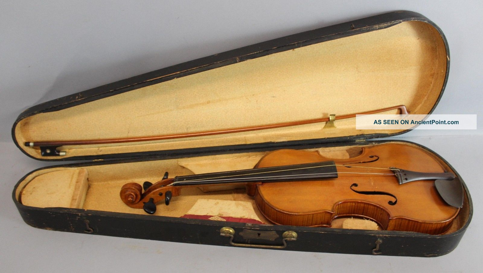 Antique Steamship Captain Alvah Belmont Strout 4/4 Violin & French Vuillaume Bow String photo
