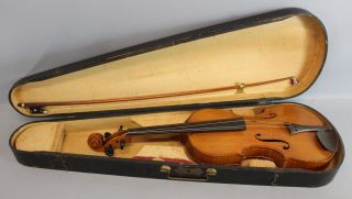 Antique Steamship Captain Alvah Belmont Strout 4/4 Violin & French Vuillaume Bow photo
