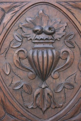 19thc Wooden Oak Panel With Fruits,  Urn,  Leaves & Other Carving C1880s photo