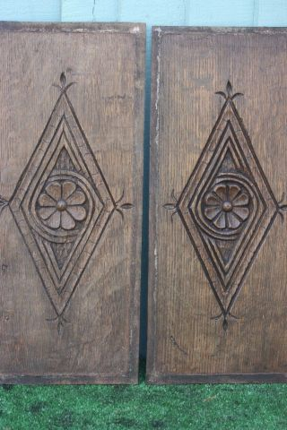 Pair: 16thc Gothic Tudor Period Wooden Oak Relief Carved Panels C1590s photo