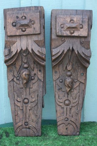 Pair: 16thc Gothic Tudor Period Wooden Oak Large Corbels C1590s photo