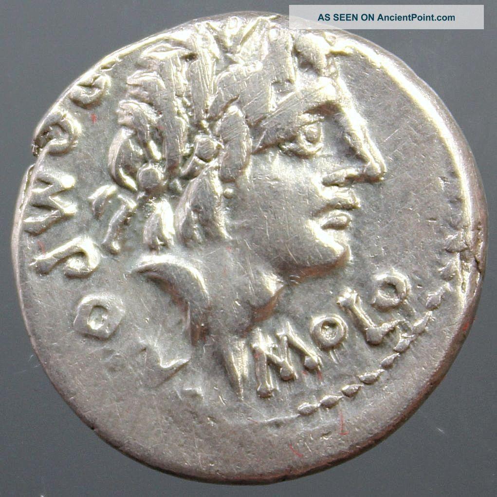 L.  Pomponius Molo,  Silver Denarius,  Apollo,  Numa Pompilius,  Goat,  Altar,  97 Bc Roman photo