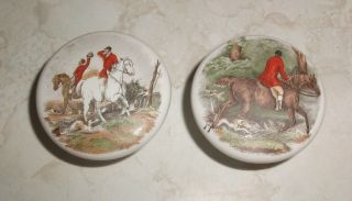 Vtg Ceramic Fox Hunt Horses Drawer Pulls Dresser Cupboard Cabinet Handle Knobs photo