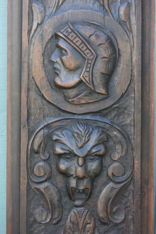 Stunning Early 18th C.  Gothic Wooden Oak Panel With Grotesque Head,  Other C1720s photo