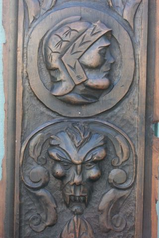 Stunning Early 18thc Gothic Wooden Oak Panel With Grotesque Head & Other C1720s photo