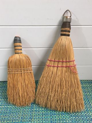 Two Vintage Straw Whisk Hand Broom Wire Wrap One With Loop To Hang photo
