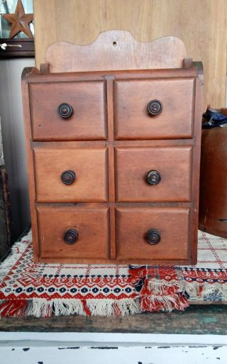 Antique Pine 6 Drawer Spice Cabinet Apothecary Cabinet Primitive Farmhouse Aafa photo