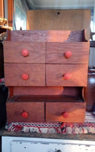 Antique Vintage Primitive Wood Handmade Spice Apothecary Chest Cabinet Make - Do photo