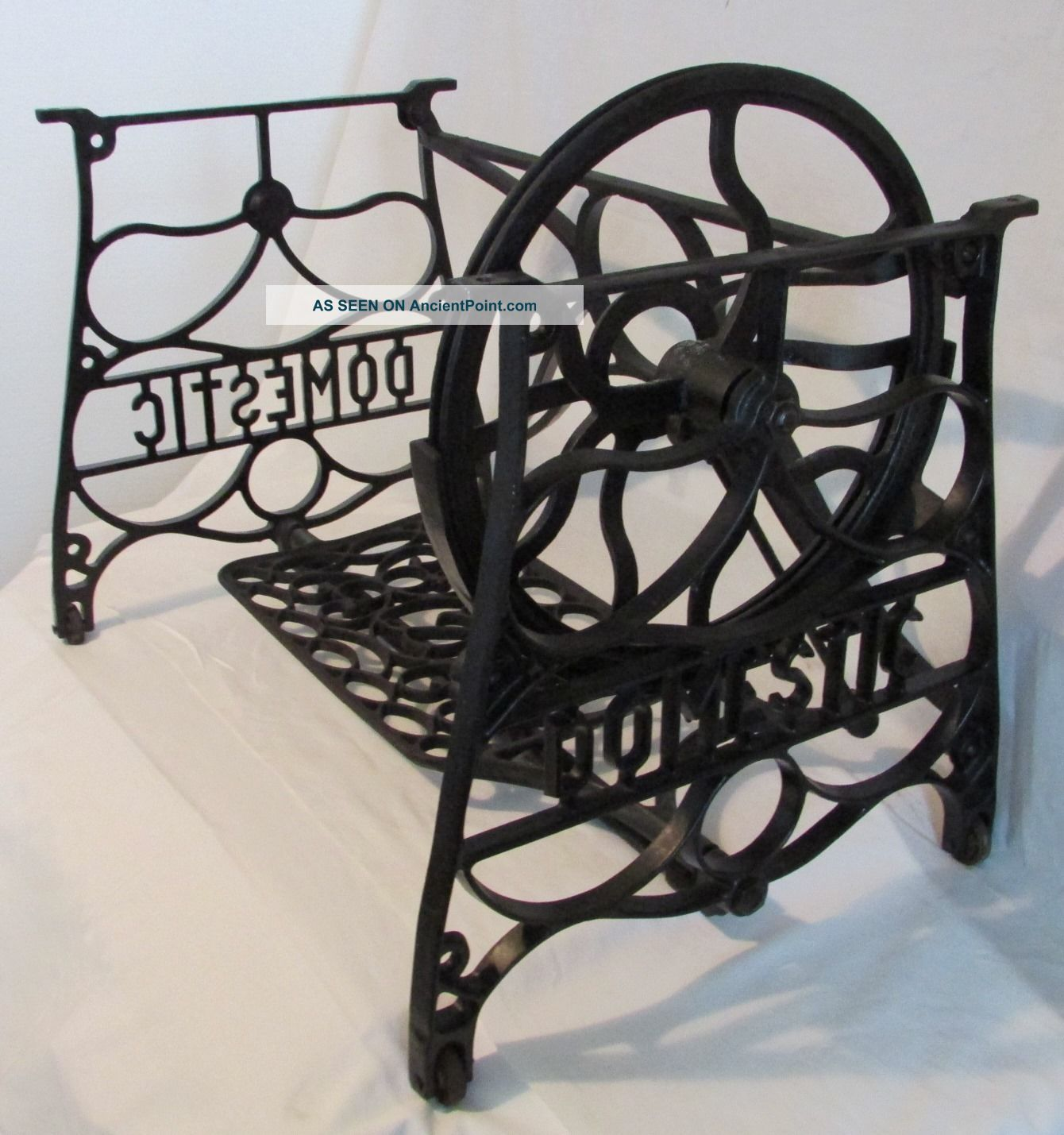 1898 Domestic Treadle Sewing Machine Frame Table Cast Iron Short Base Industrial Sewing Machines photo