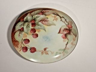 Antique Imperial Empire Hand Painted Red Raspberries 8 5/8