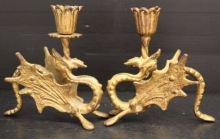 Vintage Antique Ornate Figural Solid Brass Griffin Dragon Candle Sticks photo