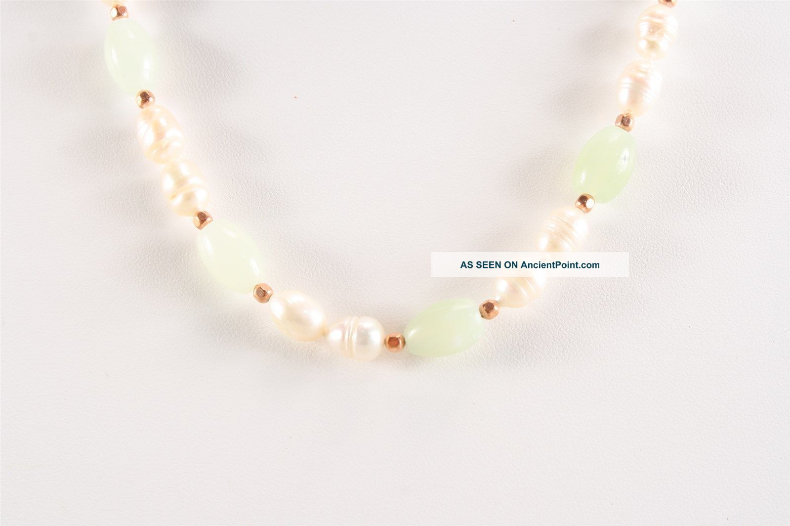 Fabulous Freshwater Pearls & Light Serpentine Copper Bead Necklace The Americas photo