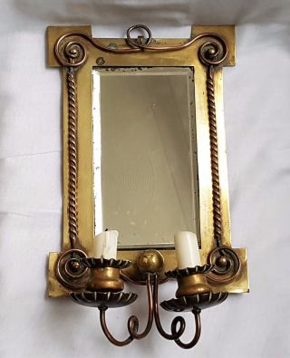 Antique Arts & Crafts Girandole Mirror Bevelled Glass - Brass & Copper photo