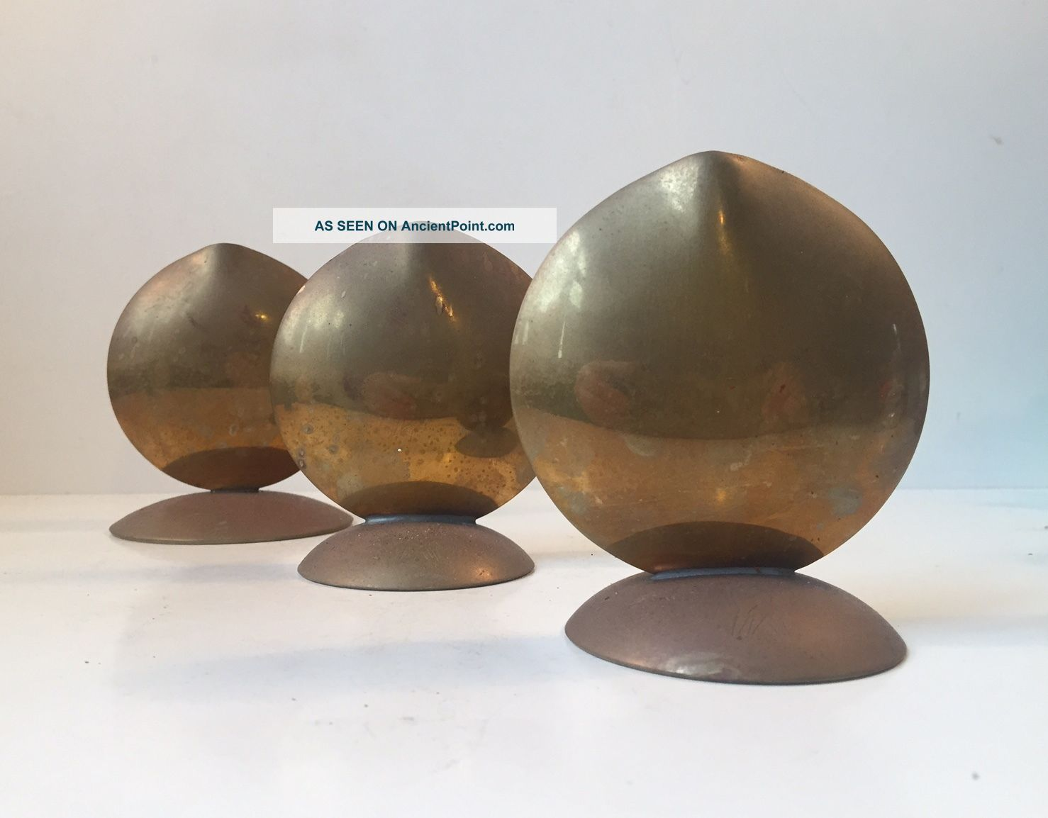 Trio Scandinavian Brass Fish Mouth Vases Mid Century Aubock Stelton Markaryd Era Mid-Century Modernism photo