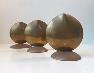 Trio Scandinavian Brass Fish Mouth Vases Mid Century Aubock Stelton Markaryd Era photo