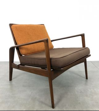 Vintage Ib Kofod Larsen Attr Scuptural Lounge Chair Mid Century Danish Modern photo