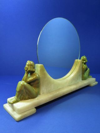 Fantastic 1920 ' S Art Deco Circular Mirror Flapper Figurines Alabaster Base photo