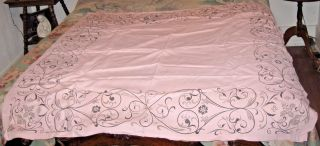 Vintage Mid Century Tablecloth Signed John Gieroch Pink & Black Cotton 52