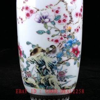Old Chinese Porcelain Hand - Painted Flowers&calligraphy Vase With Qianlong Mark photo