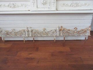 Omg 3 Old Vintage Cast Metal Garden Fence Stakes Chippy White Patina Ornate photo