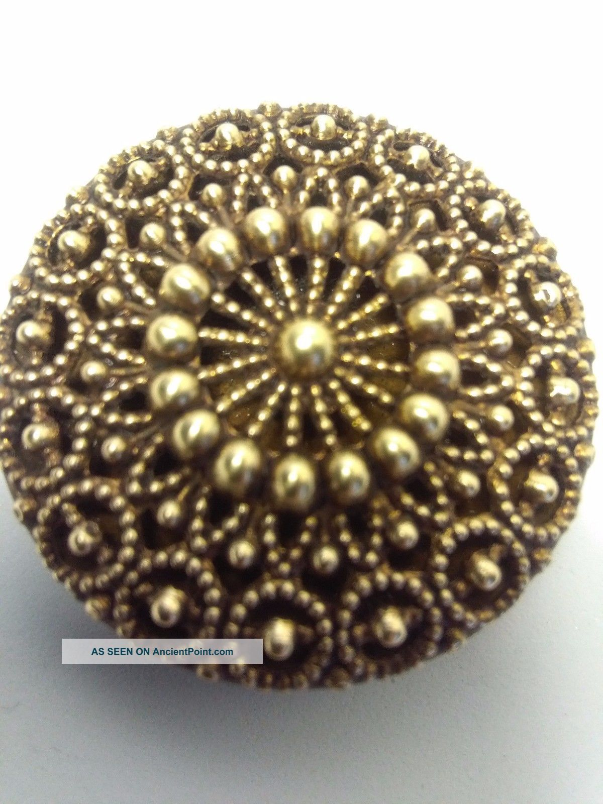 Antique Brass Openwork Button Metal Filigree Buttons photo