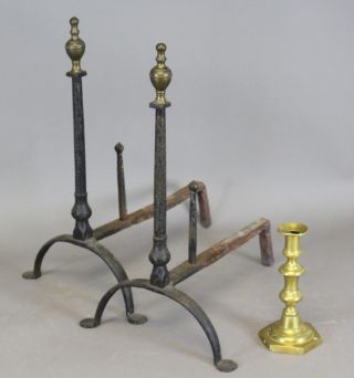 Rare Brass Top 18th C Rhode Island Wrought Iron Andirons Old Black Paint photo