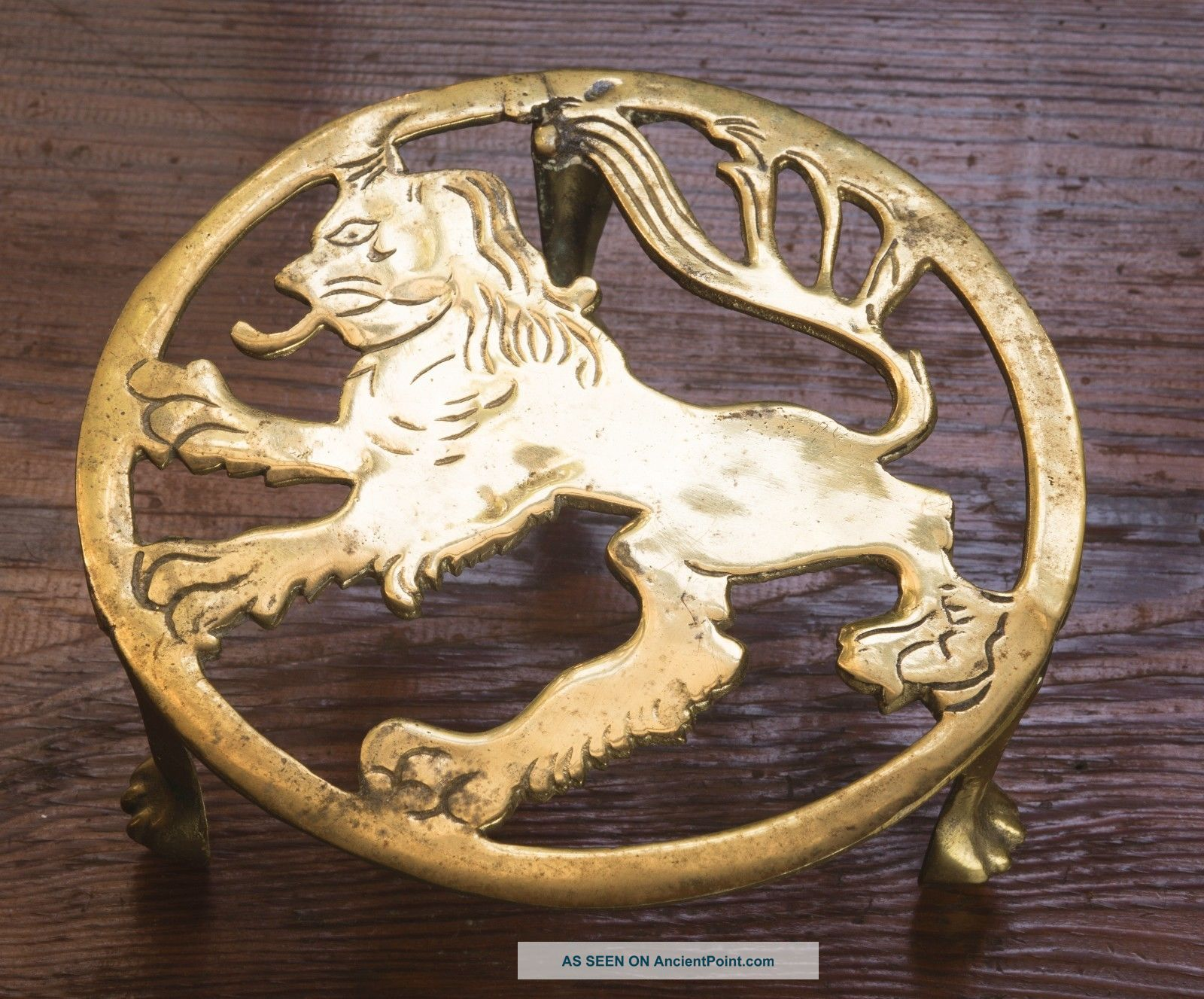 Vintage English Fireplace Brass Lion Ball & Claw Kettle Stand Trivet Pot Stand Trivets photo