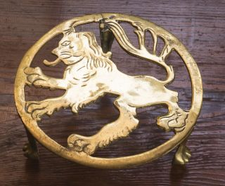 Vintage English Fireplace Brass Lion Ball & Claw Kettle Stand Trivet Pot Stand photo