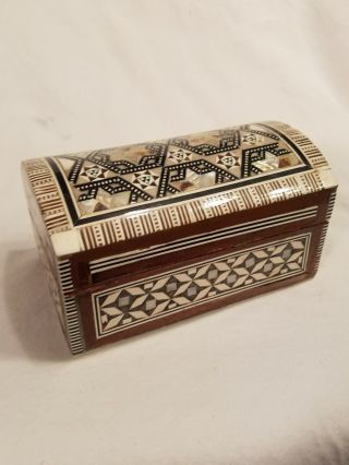 Inlaid Mother Of Pearl And Bone 1930 ' S Wooden Trinket Box photo